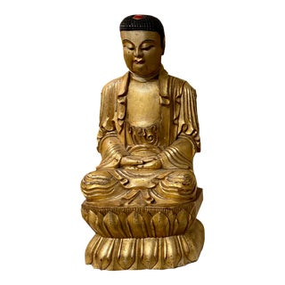 19th Century Chinese Qing Dynasty Carved Buddha With Gold For Sale