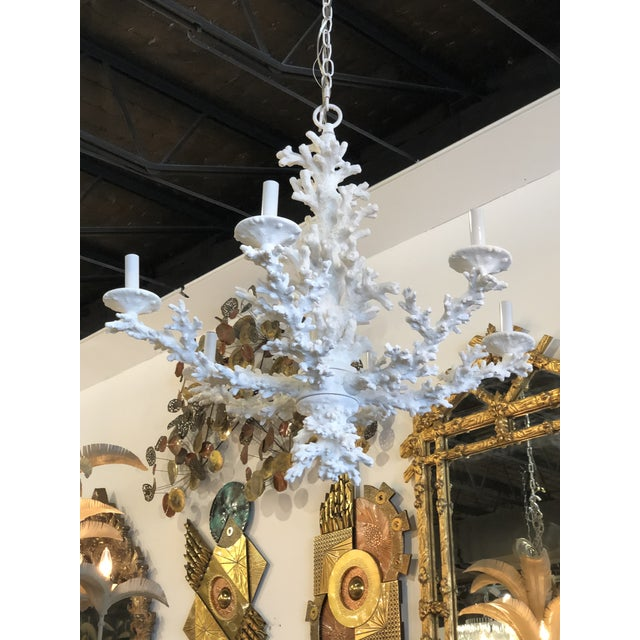 Vintage Palm Beach Tropical White Faux Coral 6 Light Chandelier For Sale - Image 11 of 11