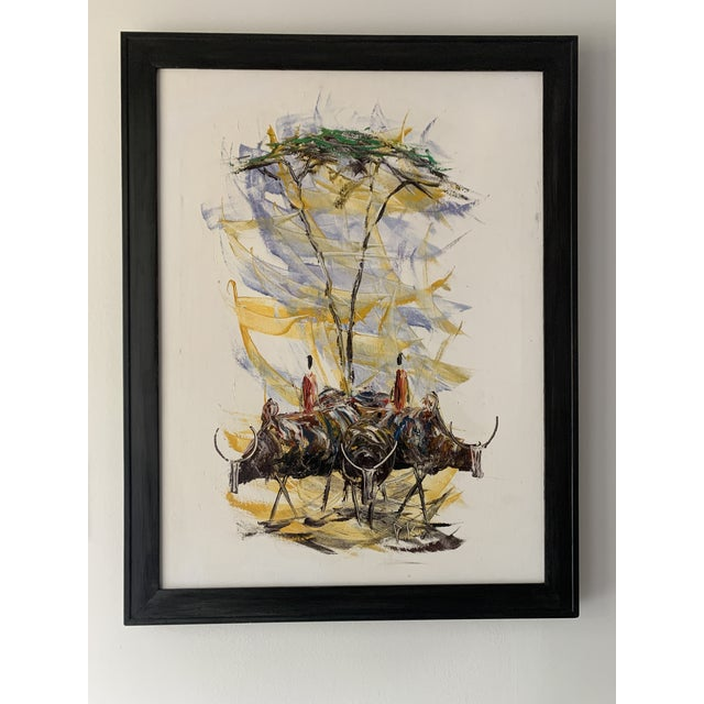 "Mid-Century Style ""Steer"" Painting, Framed For Sale - Image 13 of 13"