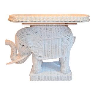 Boho Chic Wicker Rattan Elephant Tray Table For Sale