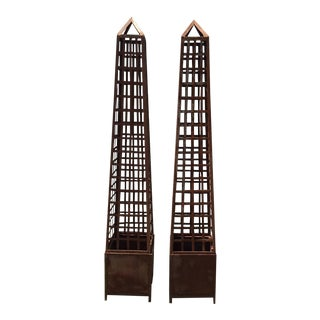 Monumental Iron Latticework Obelisk Planters - A Pair