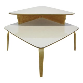 1950s Mid Century Modern Birch Two Tier Corner Table For Sale