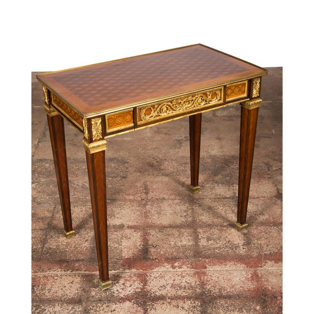 19th C. Louis XVI Bronze Mounted French Side Table - Image 2 of 10