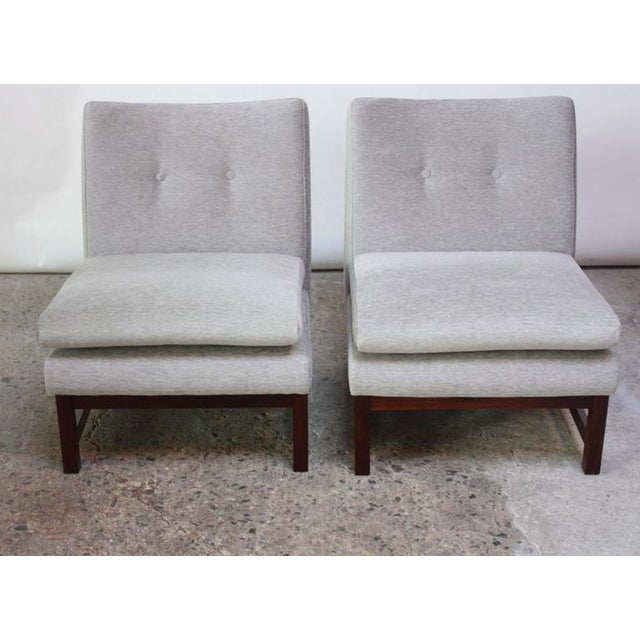 Pair of Danish Slipper Chairs in Chenille and Rosewood - Image 8 of 10