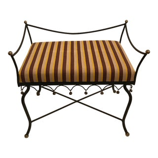 Vintage Mid Century Iron Upholstered Bench For Sale