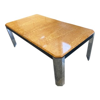 1970s Burl & Chrome Dining Table Attributed to Milo Baughman For Sale