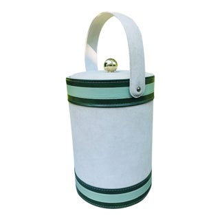 Georges Briard Green and White Ice Bucket For Sale