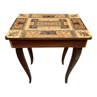 Vintage Italian Wood Marquetry Inlay Music Box Compartment Table For Sale