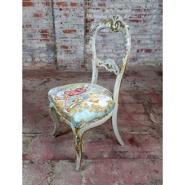 18th Century Venetian Painted and Upholstered Side Chair For Sale - Image 11 of 11