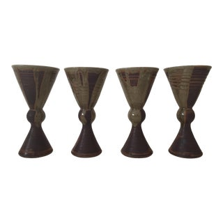 Vintage Mid Century Modern Moss Green Studio Pottery Handcrafted Ceramic Goblets - Set of 4 For Sale