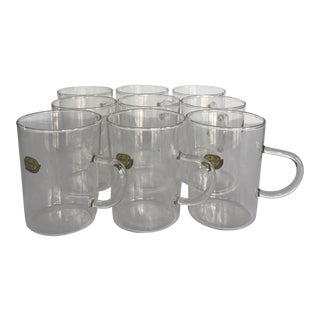 Mid-Century Modern Thin Glass Coffee Mugs by Bohemia Glass - Set of 9 For Sale