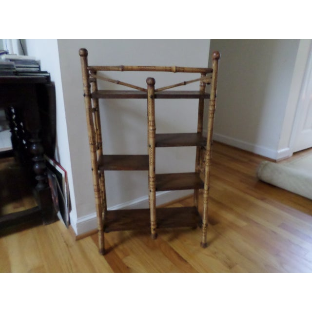 Brown Bamboo Etagere With Burnt Decoration, 19th Century For Sale - Image 8 of 12
