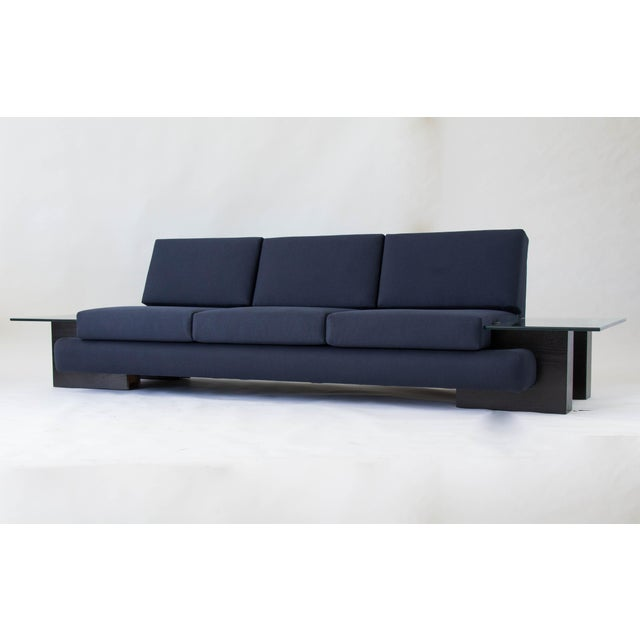 From midwestern manufacturer Kroehler, this sofa from 1978 has a rounded, upholstered frame in Oxford blue cotton. The...