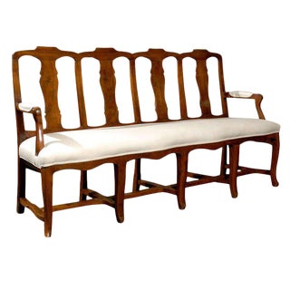French Walnut Upholstered Seat Long Beach from the Mid 19th Century