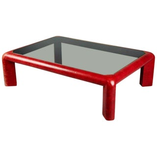 Karl Springer Signed Lipstick Red Leather and Brass Cocktail Table, Dated 1984 For Sale