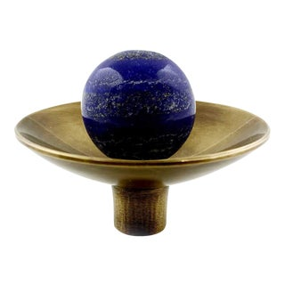 Addison Weeks Gibson Knob, Antique Brass & Lapis For Sale