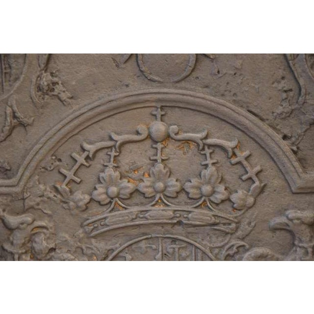 Metal 18th C. Large Fireback - Coat of Arms Lorraine from 1704 For Sale - Image 7 of 11