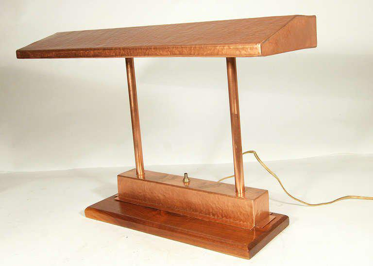 Vintage Craftsman Style Polished Copper Fluorescent Desk Lamp, Comes Fixed  To An Oak Base.