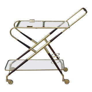Brass and Mahogany Cart by Cesare Lacca For Sale