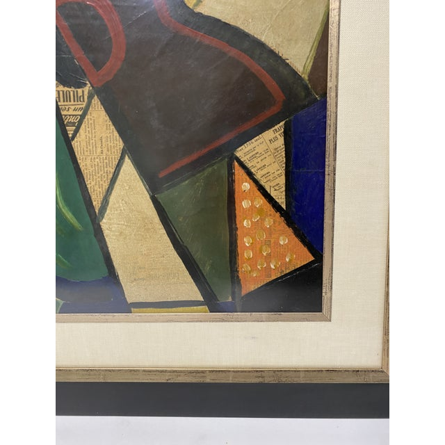 Wood 1956 Cubist Guitar J Lacoste Mixed Medium on Board Painting For Sale - Image 7 of 13