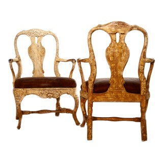 Swedish Painted Rococo Armchairs - a Pair For Sale