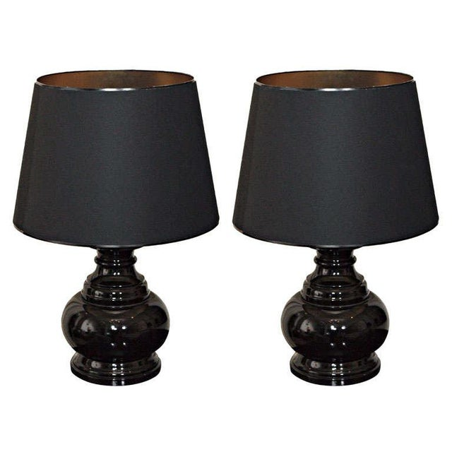 Black Black Lacquer Table Lamps - A Pair For Sale - Image 8 of 8