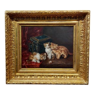 19th C. French School-Curious Cats Looking at a Gold Watch -Oil Painting For Sale