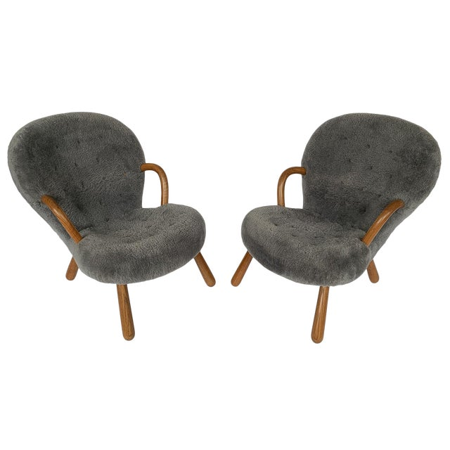 Philip Arctander for Paustian Gray Sheepskin Upholstered Lounge Chairs - a Pair For Sale
