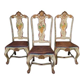 Late 18 C. Italian Carved and Handpainted Chairs - Set of 3 For Sale