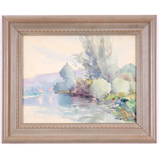 """Lake in France"" Painting, C. 1930 - Image 1 of 4"