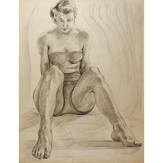 1950's Studio Drawing Seated Female Figure For Sale