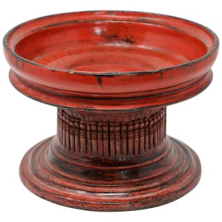 Thai Red Carved Wood Temple Offering Box Basket For Sale