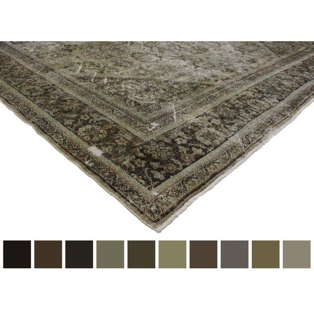 Distressed Antique Persian Mahal Rug With Modern Industrial Style, 10'06 X 13'07 For Sale In Dallas - Image 6 of 8