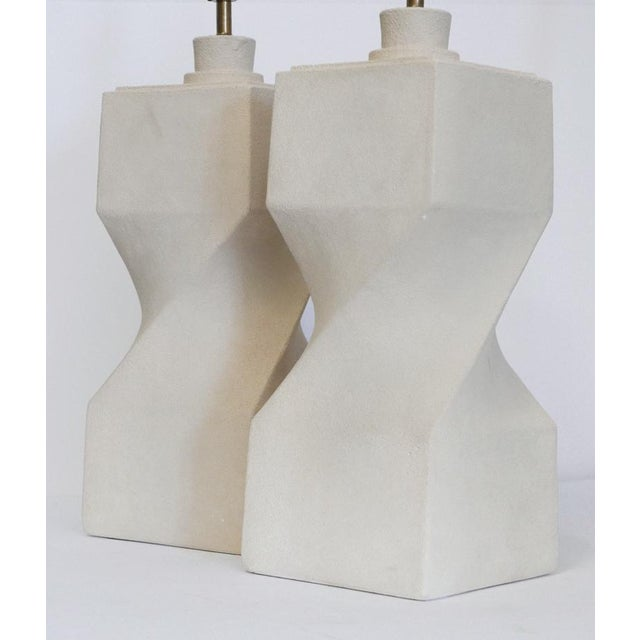 Pair of Architectural Plaster Lamps These are a perfect addition to any room because of their simplicity. No Shades