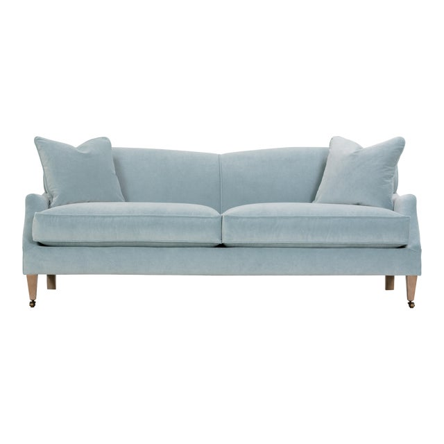 Tilly Sofa, Light Blue Velvet, Washed Oak Legs with Casters For Sale