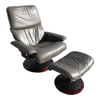 Modern Stressless Leather Recliner & Ottoman For Sale
