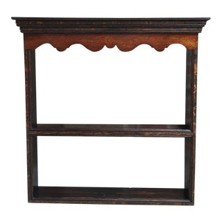 Antique English Carved Tiger Oak Plate Platter Wall Rack Display Shelf Kitchen For Sale