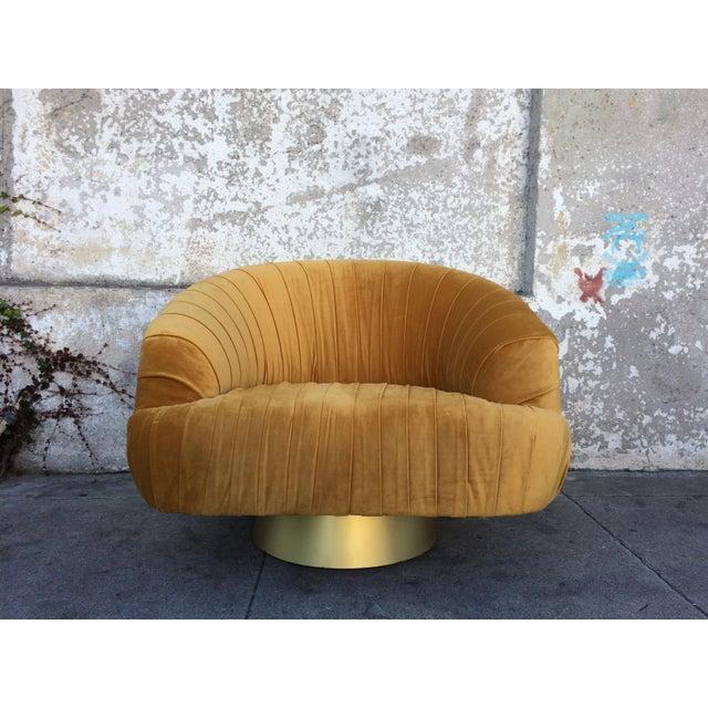 Hollywood Regency Gold Velvet W Chair - Image 2 of 6