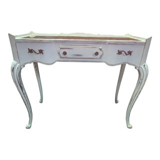 French Provincial Fruitwood Pink Marble Top Console Table Shabby Distressed Cottage Marble Sofa Table For Sale