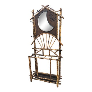 Late 19th Century Olde English Hall Stand Tortoise Shell Bamboo Aesthetic Style Beveled Crescent Mirror For Sale