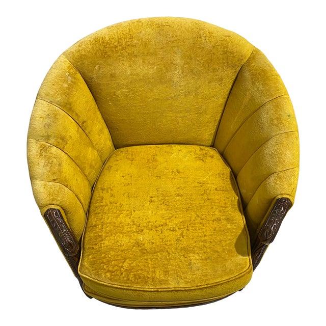 1970s Vintage Yellow Channel Barrel Back Velvet Swan Carved Chair For Sale