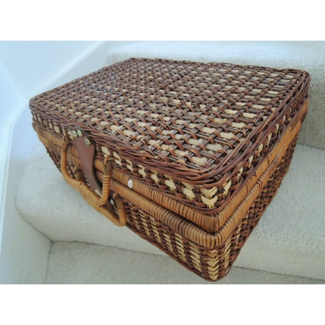 Vintage Picnic Basket & Tableware - Service for 4 For Sale - Image 11 of 13