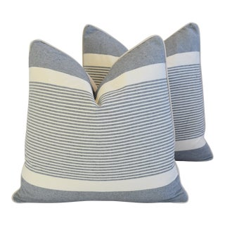 "French Gray & White Nautical Striped Feather/Down Pillows 22"" Square - Pair For Sale"