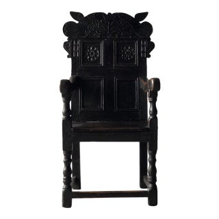 Early 19th Century British Carved Oak Great Chair For Sale