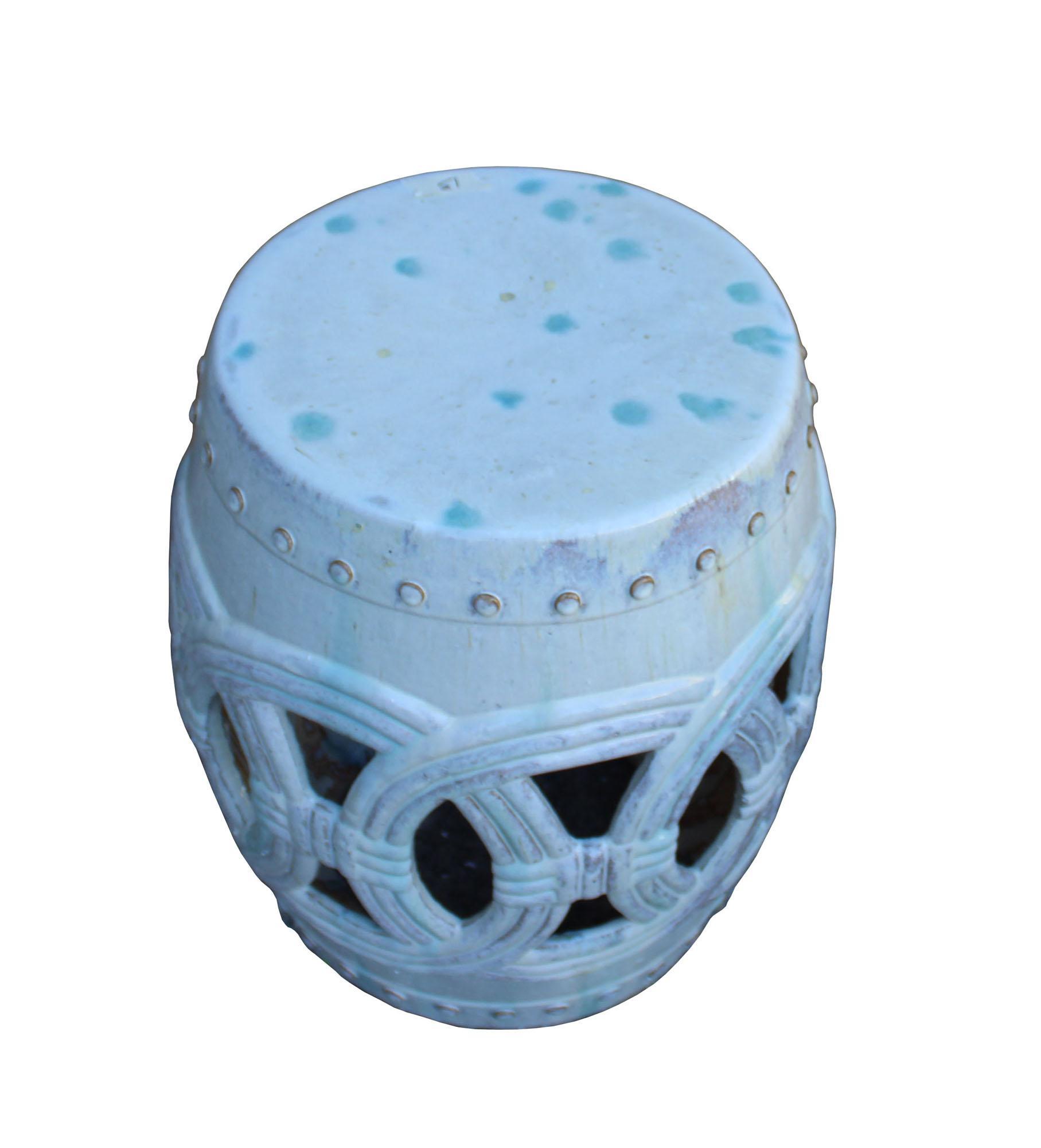 Chinese White Coin Pattern Round Clay Ceramic Garden Stool cs3299E