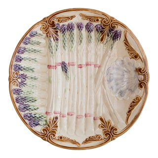 Antique French Majolica Asparagus Plate For Sale