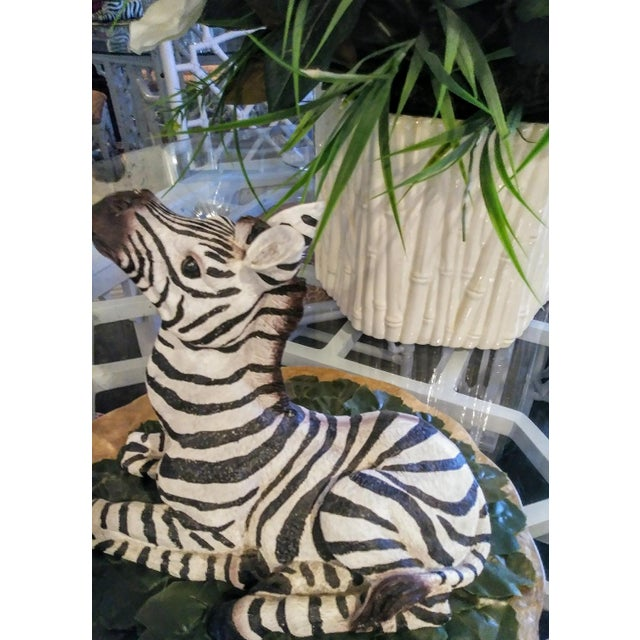 Traditional 1980s Black and White Sitting Zebra Palm Beach Regency Statue For Sale - Image 3 of 8