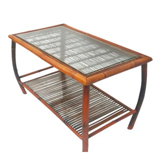 Hollywood Regency Bamboo and Rattan Coffee Table