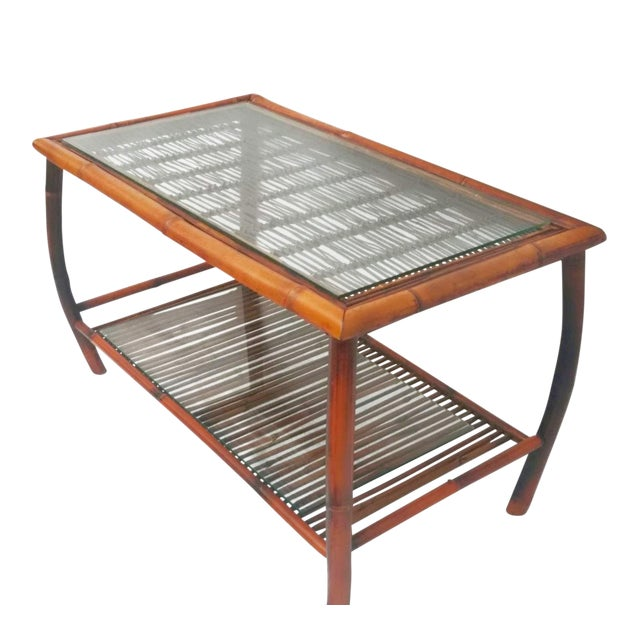 Hollywood Regency Bamboo and Rattan Coffee Table For Sale