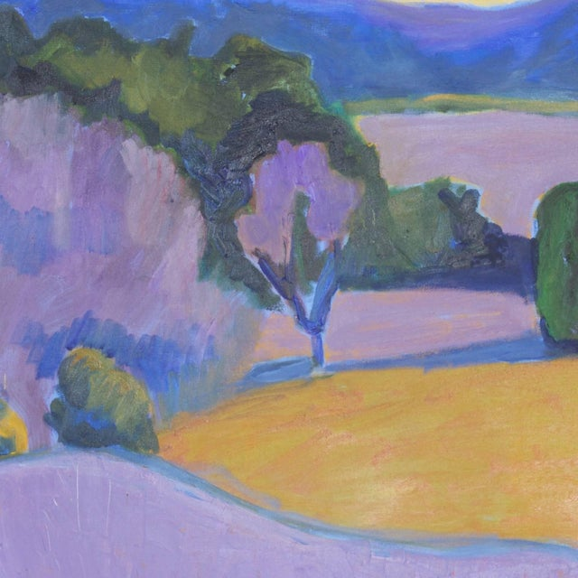 Mid-Century Landscape Painting on Canvas by Sally Turner For Sale - Image 4 of 9